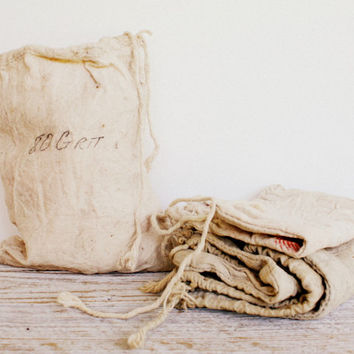 Six Vintage Linen Bags  Sandpaper by shavingkitsuppplies on Etsy