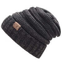CC men and women trendy labeling knitted hat cap hat warm hat Dark gray
