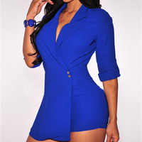 2016 Hot Miami Styles Black And Blue Trench Romper  Women Jumpsuit