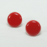 Red Stud Earrings 20mm- Bright Red Round Earring Stud - Red Earrings - Red Stud - Surgical Steel Post Earrings - Big Stud Earrings