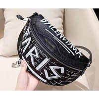 Balenciaga New trend letter doodle half moon bag pocket shoulder messenger bag