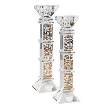"""Crystal And Gold Candlesticks 9""""H X 1.25""""W"""