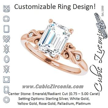 Cubic Zirconia Engagement Ring- The Natsumi (Customizable 3-stone Radiant Cut Design with Small Round Accents and Filigree)