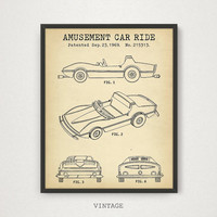 Disneyland Amusement Car Ride, Patent Print Download, Digital Art Printable, Children's Gift, Disney World, Magic Kingdom Car Blueprint