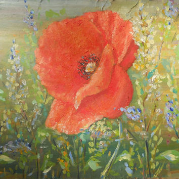 Poppy Original Oil Painting Pastel Field Red Flower Contemporary Art Decor Wall Nursery Living room Impasto Palette knife Floral Art Canvas