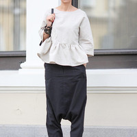 Pants for women, Drop crotch pants, Linen pants, Harem pants women, Unisex pants, 4 pockets, Boho clothes, Baggy pants, Black pants P23818