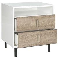 Kefton Lacquer Cabinet White, Oak, Black