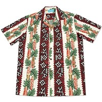 hieroglyph red hawaiian cotton shirt