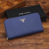 THE PRADA Zipper bag Women Leather Purse Wallet G-YJBD-2H