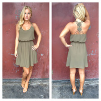 Olive Double Diamond Dress