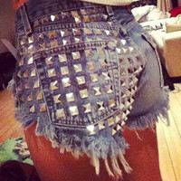 High waisted denim Camo shorts Studded Jean super frayed in all