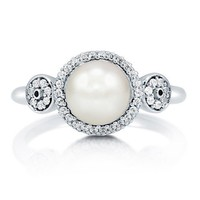 Freshwater Pearl With Cubic Zirconia Sterling Silver Halo Fashion Ring #r687