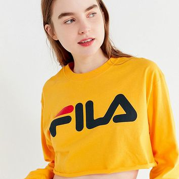 FILA + UO Cropped Long Sleeve Tee   Urban Outfitters