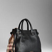 Medium House Check Detail Leather Tote Bag