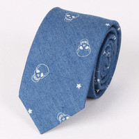 Hot Sale Retro Star and Skull Pattern Denim Neck Tie For Men