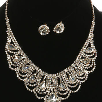 """16"""" gold clear crystal bib choker collar necklace .75"""" earrings prom bridal"""