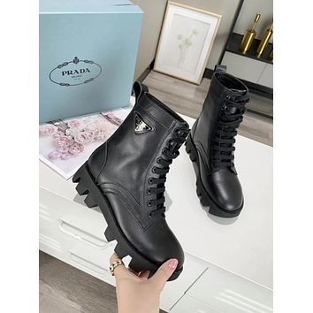 Prada Trending Women's Black Leather Side Zip Lace-up Ankle Boots Shoes High Boots