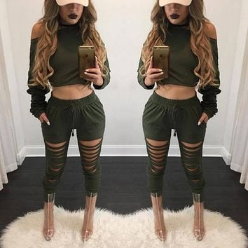 High Quality 2 Pieces Women's Sets Autumn Winter Long Sleeved Solid Shirts Crop Tops + Long Hollow Out Pants LX114