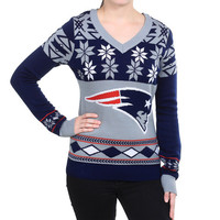 """New England Patriots Women's Official NFL """"Big Logo"""" V-Neck Sweater by Klew"""