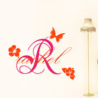 Vinyl Decals Monogram  Initial Personalized  Name Butterfly Hibiscus Home Wall  Decor   Sticker  L594 Unique Design Girl  Nursery Bed Room