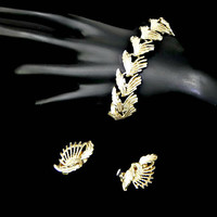 Feathery Leaves Bracelet and Earrings Set Gold Tone with Rosy White Enamel Signed Judy Lee