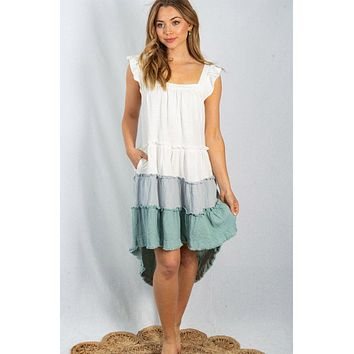 Seaside Retreat White And Sage Tiered Flutter Sleeve Dress