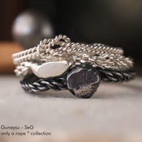 "NEW! STACKING RING - Three Stack Rings - Rock, Rope, Knot - Silver & Oxidized Silver - Handmade - "" With Only a Rope Collection """
