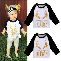 Toddler Kids Baby Girls Clothing Tops Long Sleeve Tops T-shirt Tees Cotton Long Sleeve Christmas Clothes 0-5T