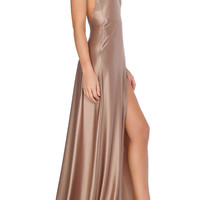 Olivia Evening Gown - Dark Beige
