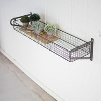 Wire Basket Wall Shelf With Brackets
