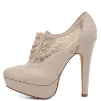 Lace-Up Lace-Trim Oxford Booties by Charlotte Russe - Nude