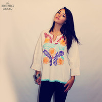 Bohemian Top Blouse Shirt Mexican Embroidered Huipil Sweater Hand Embroidery OOAK Boho Hippie Eco Friendly Organic by TheBohemianDream