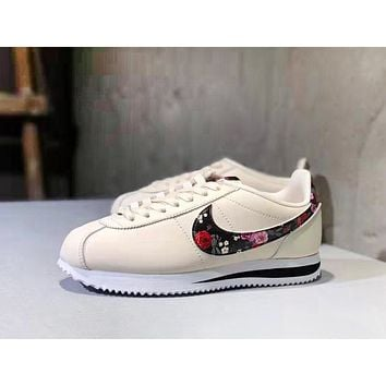 NIKE Classic Cortez Fashion New Floral Print Hook Running Leisure Shoes Women