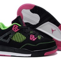 Kids Air Jordan 4 Black/green/pink Sneaker Shoe Size Us 11c 3y | Best Deal Online
