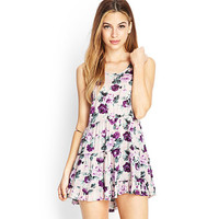 Floral Print Cross-Back Ruffled Dress