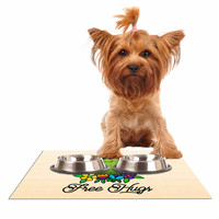 "Noonday Design ""Free Hugs Cactus"" Green Pastel Dog Place Mat"