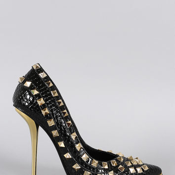 Privileged Snake Studded Pointy Toe Pump
