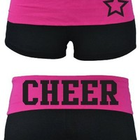 Juniors Fold Over Cheer Cotton Spandex Shorts Many Colors