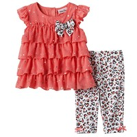 Little Lass Tiered Chiffon Top & Leggings Set - Baby Girl, Size: