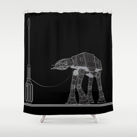 At At Walker stop Shower Curtain by Tony Vazquez