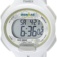 """Timex Women's T5K606 """"Ironman Traditional"""" Sport Watch with White Resin Strap"""