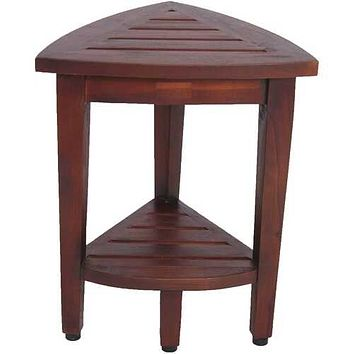 Compact Teak Corner Shower  Outdoor Bench with Shelf in Brown Finish
