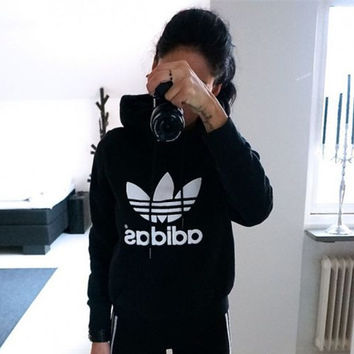 """""""Adidas""""Casual All-match Print Letter Hoodie Long Sleeve Sweater"""