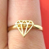 Adjustable Diamond Shaped Cut Out Ring in Gold | DOTOLY