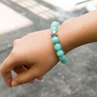 AMAZONITE AMAZON STONE Mint Bracelet Blue Gemstone 10mm Green Blue Women Accessories