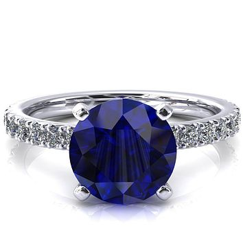 Nefili Round Blue Sapphire 4 Prong 5/8 Eternity Diamond French Pave Engagement Ring