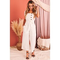Ever So Effortless Linen Jumpsuit (Marshmallow)
