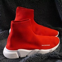 Balenciaga Sock Boots Woman Men Fashion Breathable Sneakers Running Shoes Red(White sole)