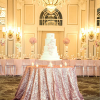 Rose Gold Sequin Tablecloth, Sparkly Shabby Pink Sequin Table linen for Girly Birthday Baby Showr Bridal Shower Party Events. READY TO SHIP
