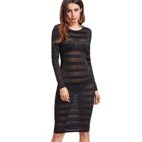 Long Sleeve Striped Mesh Dress